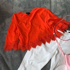 Topshop Tops - Topshop // Boxy Cropped Lace T-shirt